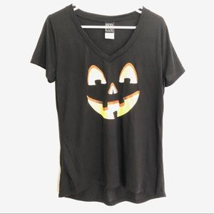 Black Graphic T-shirt VNeck Jack o Lantern